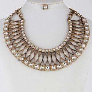 Gold rhinestone necklace set